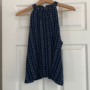 blue and white patterned dress tank